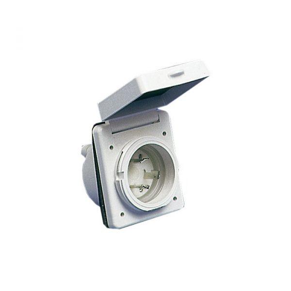 Landstrømskontakt 30A 230V Hvit Firkant