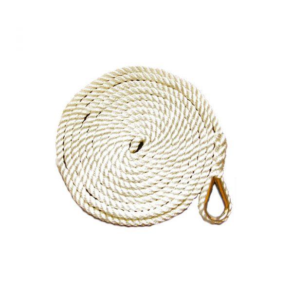 Fortøyningstau m/kause 3-slått polyestersilke, 10 mm, 4 m. Hvit