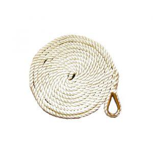 Fortøyningstau m/kause 3-slått polyestersilke, 12 mm, 4 m. Hvit