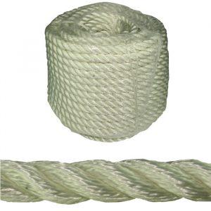 Ankerline 50m, m/kause 3-slått polyestersilke, 14 mm. Hvitt